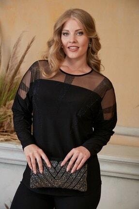 RMG Kadın Siyah Yaka ve Omuz Tül Taş Detaylı Büyük Beden Bluz