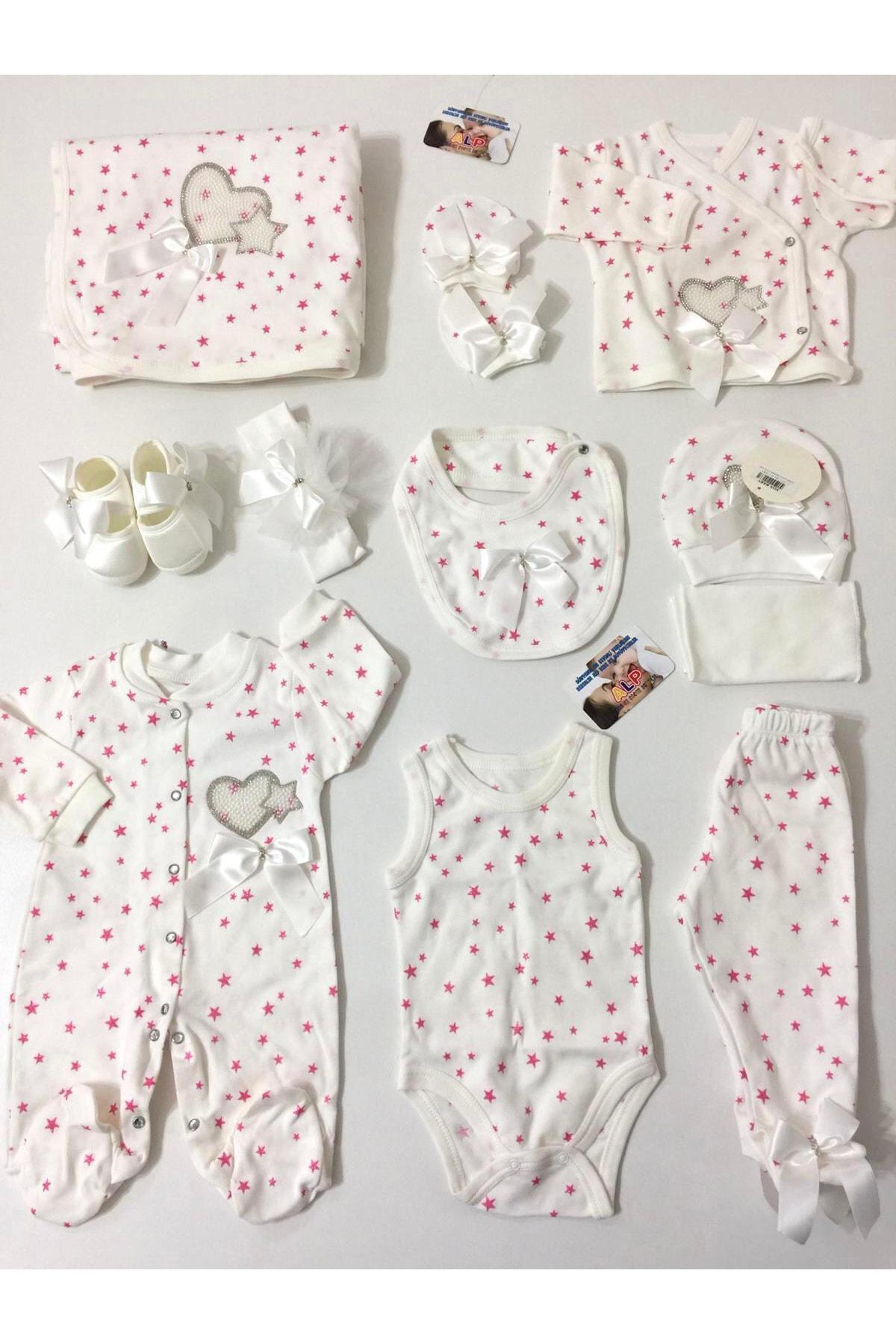 Eda Baby Yıldızlı 10 Parça Hastane Çıkış Seti Kız Takım Beyaz 1