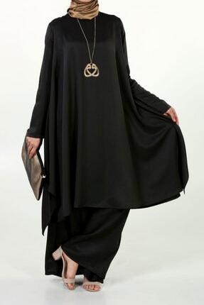 ALLDAY Kadın Siyah Tunik Pantolon İkili Salaş Takım