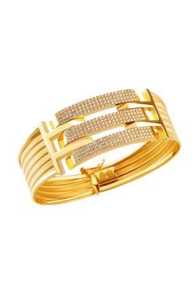 AY Store Kadın Sarı Üç Sıra Taşlı Motifli Hasır Modeli Kelepçe Bilezik.