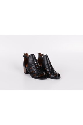 Venüs Kadın  Siyah Hakiki Deri Yazlık Topuklu Ayakkabı