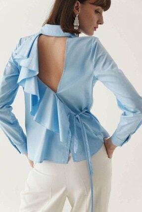 rue. Kadın Mavi Sırtı Volan Detaylı Poplin Gömlek