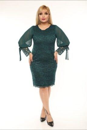 FİDAN TEKSTİL Kadın Yeşil Büyük Beden Güpür Kolu Şifon Abiye Elbise