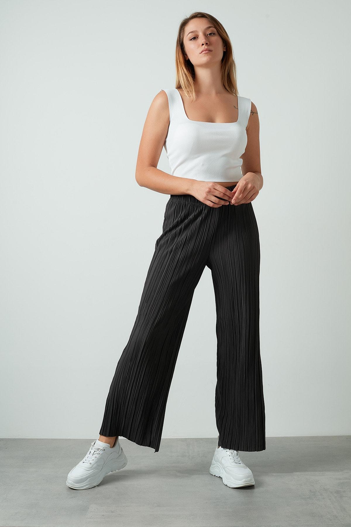 Only Kadın Antrasit  Yüksek Bel Geniş Paça Pantolon 1