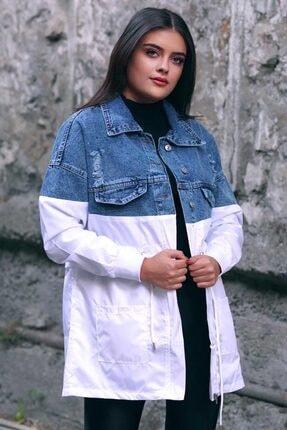 Madmext Kadın Mavi Mad Girls Kot Yağmurluk Ceket Mg728