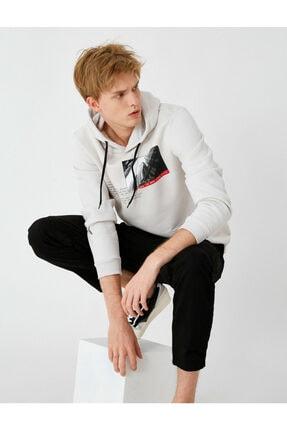Koton Erkek Gri Kapüşonlu Baskılı Sweatshirt