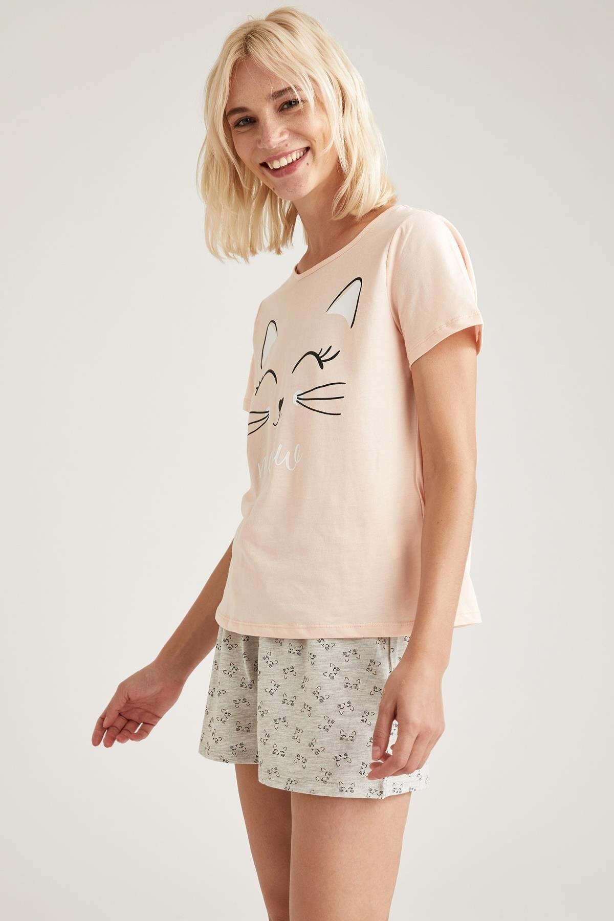 DeFacto Fit Kadın Gri Baskılı Pijama Takımı 1