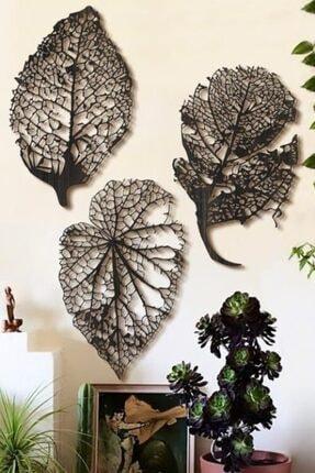 VOİVA Son Bahar 3'lü Siyah Yaprak Ahşap Tablo Büyük Boy Dekorasyon Salon Ofis Şık Tasarım Leaf Dekoratif