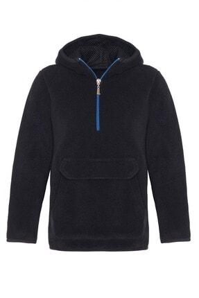 ASL Kids Colors Unisex Çocuk Siyah Polar Ceket Kanguru Cep Kapüşonlu Sweatshirt