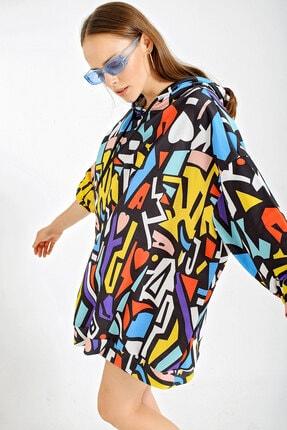 Bigdart Kadın Lacivert Grafik Desenli Oversize Sweatshirt 4125