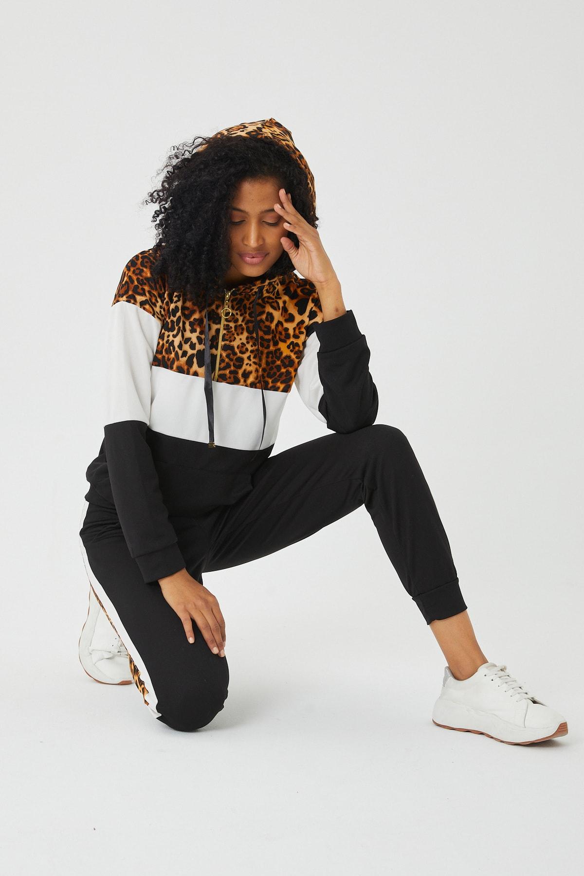 LE CARAMBOLE Kadın Siyah Leopar Detaylı Eşofman Takım 1