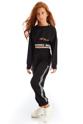 Colorinas Kız Çocuk Siyah Modern Romance Şeritli Pantolon