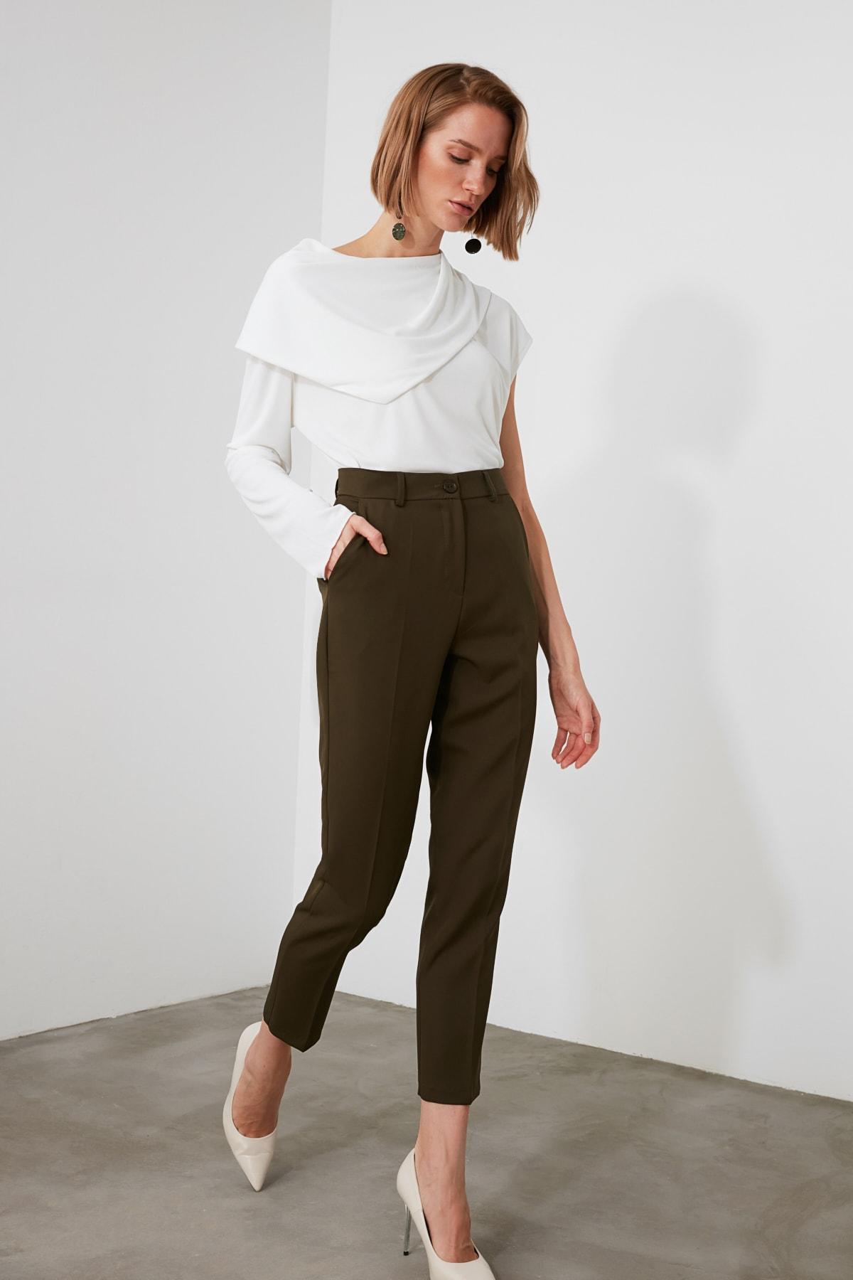 TRENDYOLMİLLA Haki Basic Pantolon TWOSS19ST0038 2