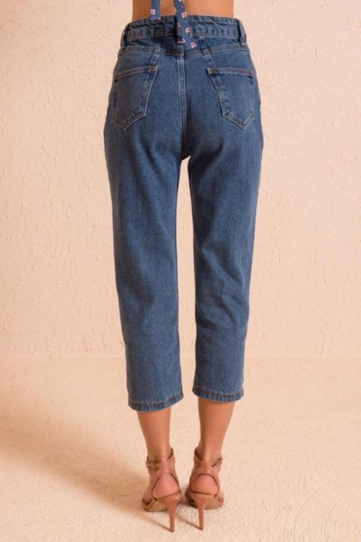 BSL Kadın Mavi Boru Paça Fermuar Detaylı Jean Pantolon 2