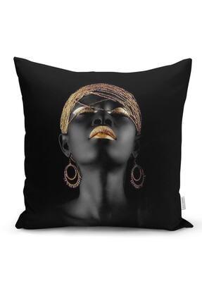 Realhomes Siyahi Kadın Özel Tasarımlı Modern Dekoratif Yastık Kırlent Kılıfı