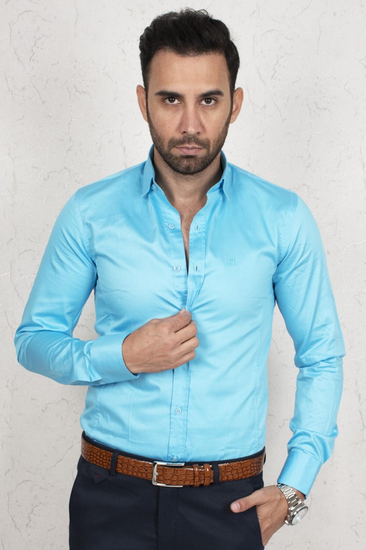 DeepSEA Erkek Mavi Regular Fit Gömlek 2000165 2