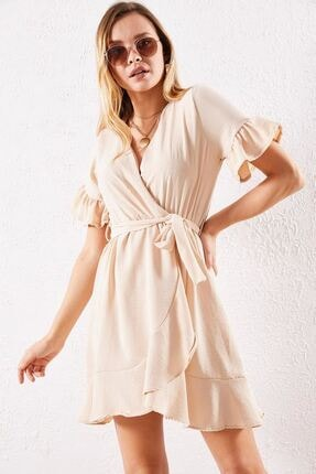 Zafoni Kadın Krem Günlük Elbise