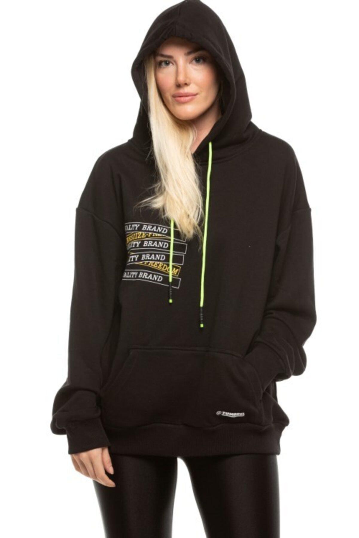 TUMBREL Unisex Siyah Oversize Baskılı Sweatshirt 1