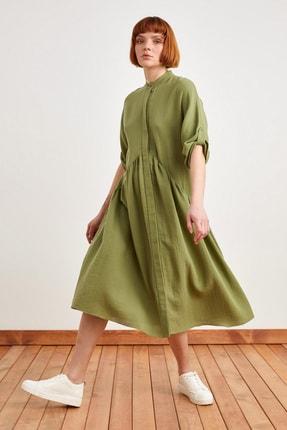 Love My Body Kadın Haki Beli Büzgülü Elbise 124L7777000