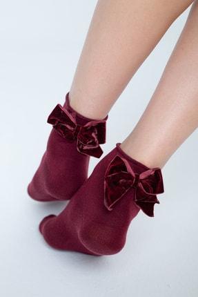 Forwena Bordo Aplike Detaylı Soket Çorap
