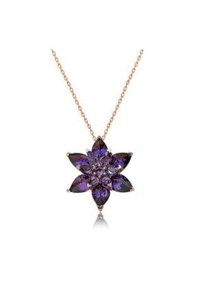 Gumush Gina Silver 925 Ayar Rose Altın Kaplama Mor Lotus Çiçeği Kadın Gümüş Kolye