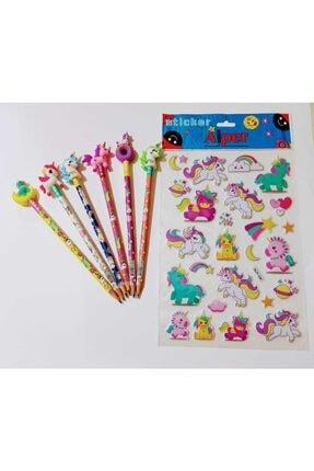 sevgi kırtasiye Unicorn Başlıklı Kurşun Kalem 6 Lı Set Ve A4 Unicorn Stickers 1 Set Alana 1 Set Bedava