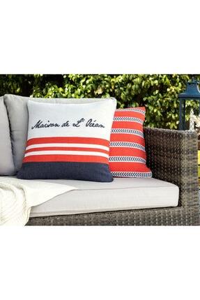 Madame Coco Chamonix Kırlent Kılıfı - Lacivert / Kırmızı - 45x45 Cm