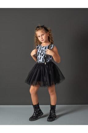 Hupo Kız Çocuk Mavi Dalmaçyalı Tül Zebra Ve Bandanalı Elbise Takım