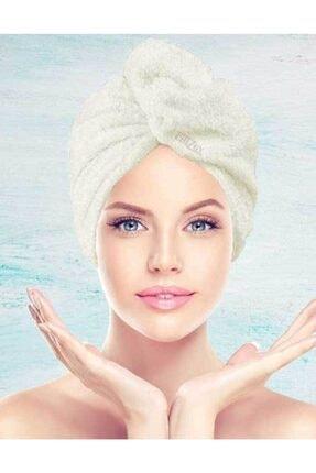 CHIZGY Mikrofiber Düğmeli Saç Havlusu Saç Bonesi Banyo Deniz Ve Havuz Sonrası Plaj Için Ekru