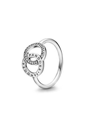 Pandora Kadın Gümüş Logolu Dolaşık Daireler Işıltılı Yüzük