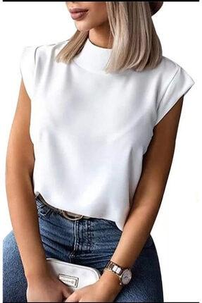 ND STYLİNG Kadın Sıfır Kol Beyaz Scuba Kumaş Bluz