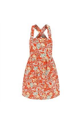 Mudo Kadın Kırmızı Çapraz Detaylı Çiçek Desenli Mini Elbise