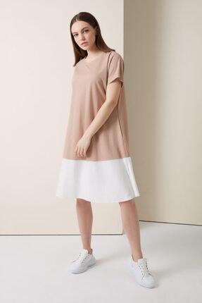 Gusto Iki Renkli Penye Elbise - Bej