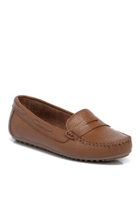 Tergan Kadın Taba Deri Klasik Ayakkabı 65387b67
