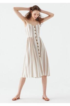 Mavi Kadın Çizgili Bej Elbise 130869-34062