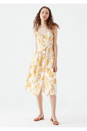 Mavi Yaprak Baskılı Sarı Elbise 130869-33942