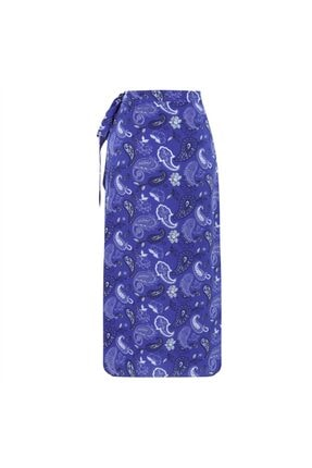 Mudo Kadın Mavi Çiçekli Kruvaze Bağlamalı Midi Etek