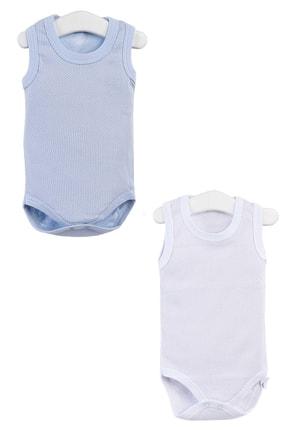 Pattaya Kids Erkek Bebek Mavi Çıtçıtlı Kolsuz Body 0-36 Ay