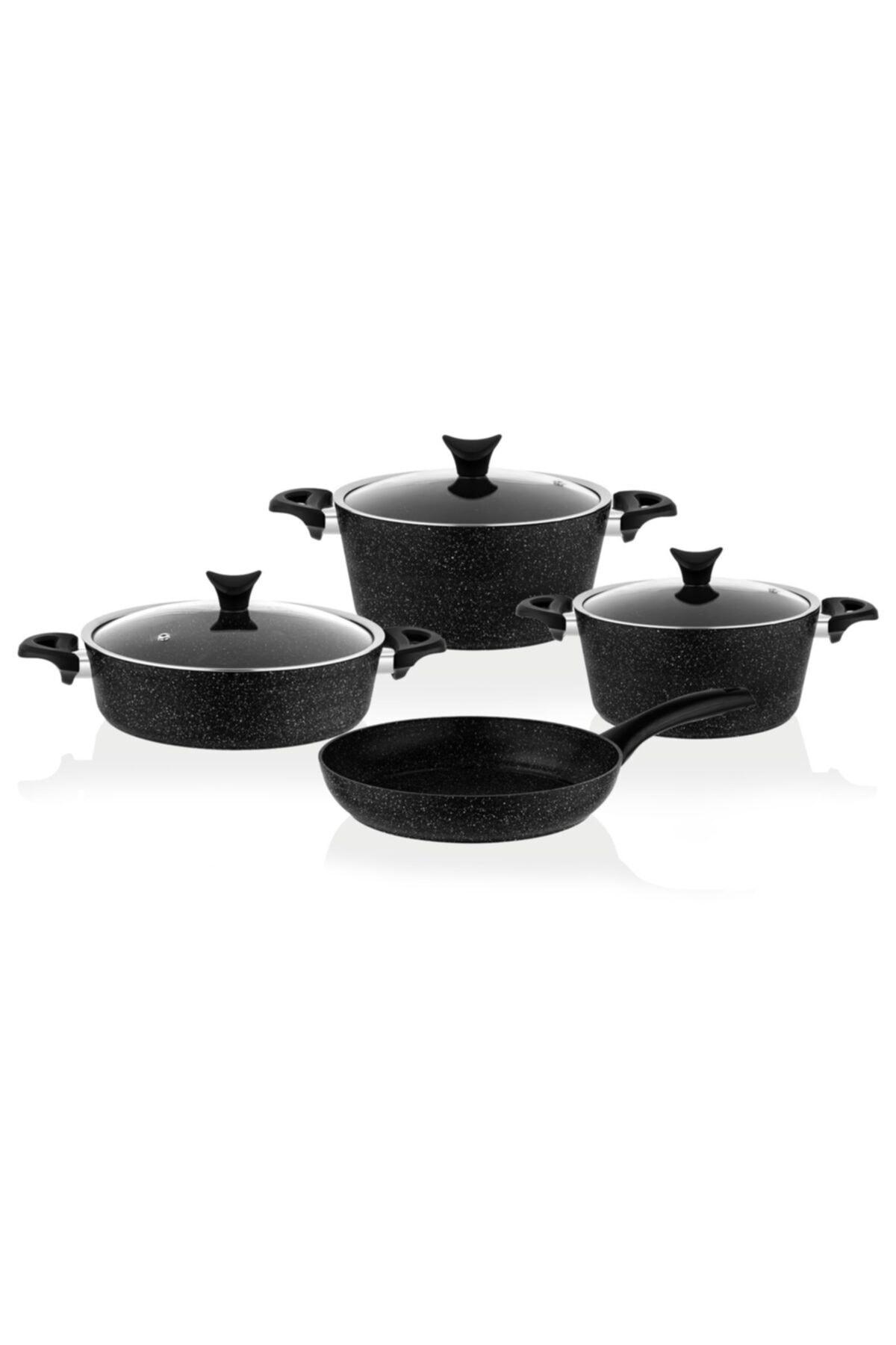 Taç 3455 Master Cook 7 Parça Granit Tencere Seti Siyah 1