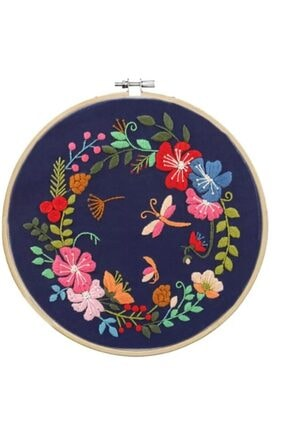 Hobi Merkezim Baskılı Kumaş Nakış Başlangıç Kiti Çiçekler -kasnak,kumaş, Plikler Ve Nakış Iğneleri-kanaviçe Etamin
