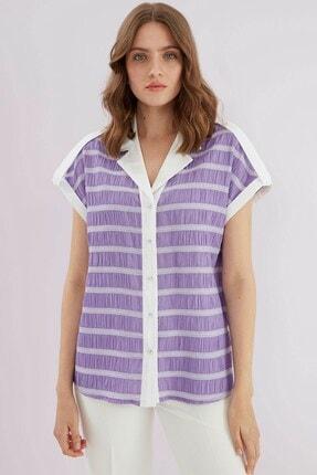 Journey Kadın Mor Yaka Ön Patlı Düşük Kol Gömlek