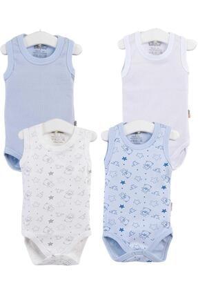 Pattaya Kids Erkek Bebek Mavi Çıtçıtlı Kolsuz 4lü Zıbın Takımı 0-36 Ay Ptk20s-402