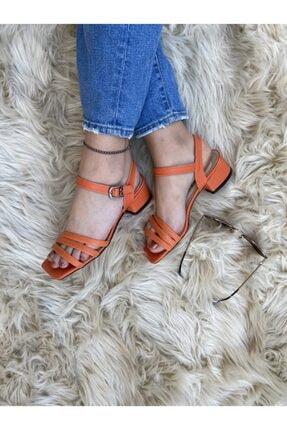 haykmar Kadın Bantlı Turuncu Topuklu Sandalet
