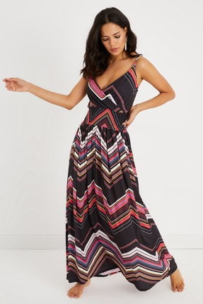 Cool & Sexy Kadın Siyah Gipeli Kruvaze Maxi Elbise BK1182
