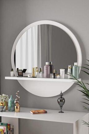 bluecape Yuvarlak Beyaz 60cm Aynalı Dresuar Hol Koridor Konsol Duvar Salon Mutfak Banyo Ofis Çocuk Yatak Oda
