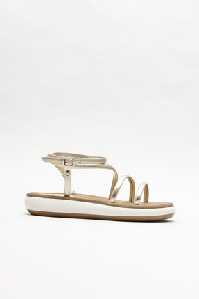 Elle Shoes Kadın Gold Deri Dolgu Topuklu Sandalet