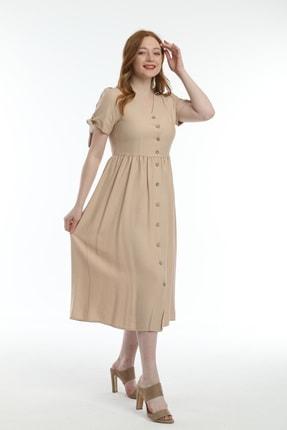 Pitti Kadın Bej Keten Elbise