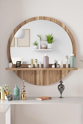 bluecape Yuvarlak Ceviz 60cm Aynalı Dresuar Hol Koridor Konsol Duvar Salon Mutfak Banyo Ofis Çocuk Yatak Oda