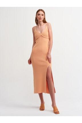 Dilvin 1094 Önü Yırtmaçlı Askılı Triko Elbise-şeftali