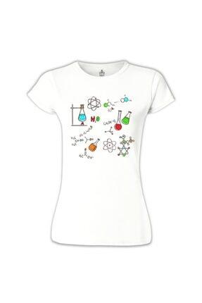 Lord T-Shirt Kadın Beyaz Kimya Formül T-shirt BB-665